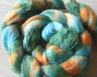 Handpainted Shetland and  Natural Flax/Linen  Roving - Hand Dyed Spinning Fiber - Fiber art - Come On and Play