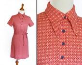 Red COLLAR Dress 1970s The Art Store Mustard Navy Size Medium Button Up