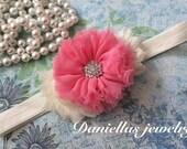 ivory and coral pink  Headband/Baby Headband/infant headband/Newborn Headband/Photo prop/Elastic Headband