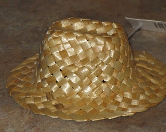 """Vintage Doll Hat Cowboy Farm Natural Straw  Miniature 5"""" CUTE for Dolls, Sewing or Crafts"""