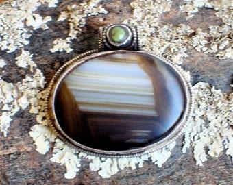 Vintage Tibetan Agate Reversible Pendant set in Sterling Silver