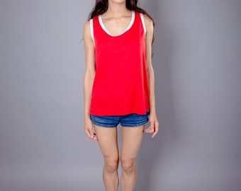 1970s Red & White Light Scalloped Tank Top