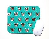 French Bulldog Dog Mouse Pad / Aqua Black White / Modern Home Office Decor / Japanese Canvas Fabric