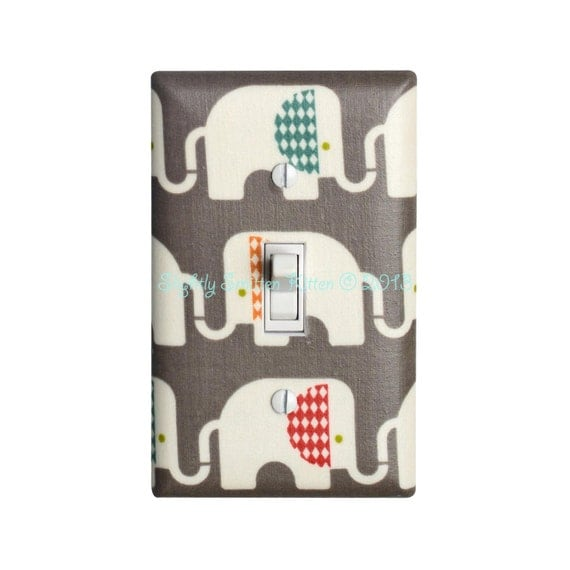 Gray Elephant Nursery Decor Light Switch Plate Cover Baby