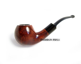 "BRIAR Tobacco Pipe ""BALL"" Carving Handmade Wooden Pipe Bent 5.5''. Structure Features Wood, Designed for pipe smokers"