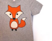 What does the fox say! Childrens applique fox tshirt - heather grey - made with upcycled fabric