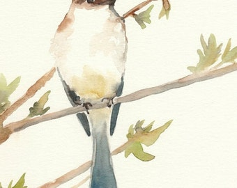 Watercolor Bird Painting, Fine Art Print, Giclee, 5x7, bird on a branch, blue, yellow, spring, bird art, bird painting