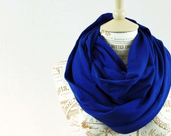 Royal Blue Infinity Scarf, Circle Scarf, Blue Jersey Cobalt Soft Cotton Accessory Gifts for Womens Wife Girlfriend Gift for Her Most Popular