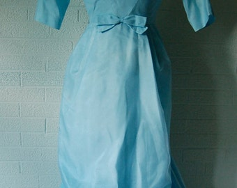 Vintage Powder Blue Satin Full Length 3/4 Sleeve Gown Dress by Lorrie Deb 7/S/M