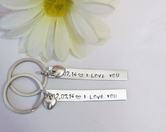 I LOVE YOU Key Chains -- Boyfriend/ Girlfriend -- Engagement --Remember the date -- Just Because