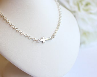 Tiny Silver Sideways Cross Communion Necklace Small Sideways Cross Necklace, Communion, Baptism, Girls Necklace - FREE Gift Packaging