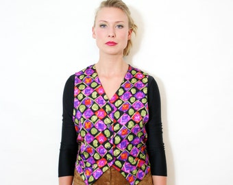 Vintage Vest Colorful Abstract Print Festival Waistcoat