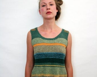 Vintage Unique Handmade Striped Tank Summer Knit Top Sleeveless Shirt