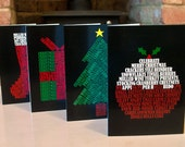 Pack of 8 Typography Christmas Cards (Pudding, Stocking, Tree and Present)