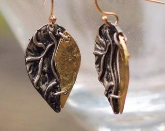 Mixed Metal Leaf Earrings - Silver Gold Leaf Earrings - Gold Silver Leaf Earrings - Leaf Earrings - Silver Gold Mixed - Gold Leaf Earrings