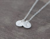 Silver Initial Discs Necklace - Personalized Letter Charm Necklace - Monogram Jewelry