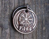 Pet Tag, Custom Dog Tag, Pet ID, Viking Compass Vegvisir Etched Brass with Runes