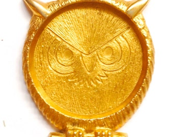 Vintage Great Horned Owl Gold-Tone / Brass Coaster