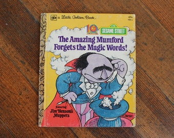 Vintage Children's Book - The Amazing Mumford Forgets the Magic Words! - Sesame Street (Little Golden Book - 1979)