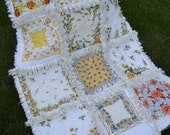 Handmade Quilt Vintage Handkerchief  Rag Quilt  Wedding Shower Retirement Present Roses Yellows and White Cottage Chic French Lap Quilt