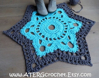 XL CROCHET RUG 'aqua/taupe' by ATERGcrochet (ready to ship)