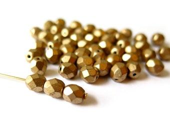 100 Pcs - Czech Glass Firepolish Beads - Matte Metallic Gold