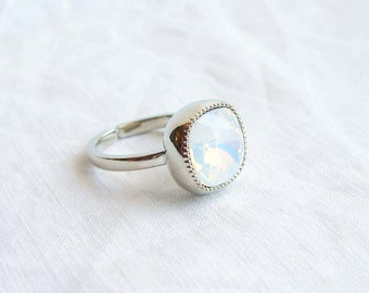 October Birthday. Swarovski Cushion Cut White Opal Solitaire Silver Ring. Adjustable Ring. Jewelry under 25. Simple Modern Jewelry