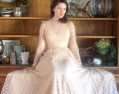 40's Nude Sheer Polka Dot Evening Gown