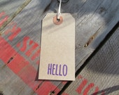 Hello tags - small brown tags - brown labels - customer notes - hello card - hello stationery - etsy uk etsyuk wedding tags - wedding labels