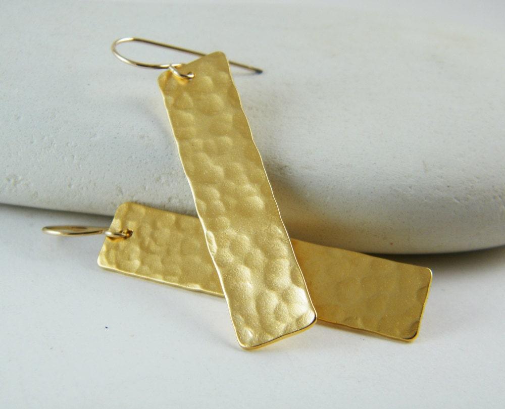 Gold Rectangular Bar Earrings