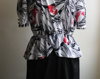 SALE - 1980's Red/Black/White Floral Peplum Dress