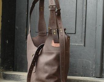 leather bag long straps original handmade by ladybuq