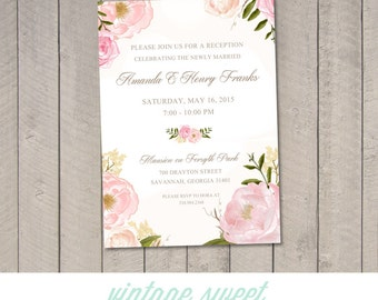 Vintage Floral Reception Invitation (Printable) DIY by Vintage Sweet