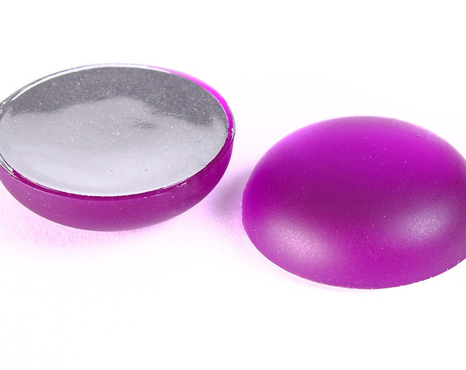 18mm Purple matte cabochons - 18mm purple frosted round cabochons with silver foil (1236) - Flat rate shipping