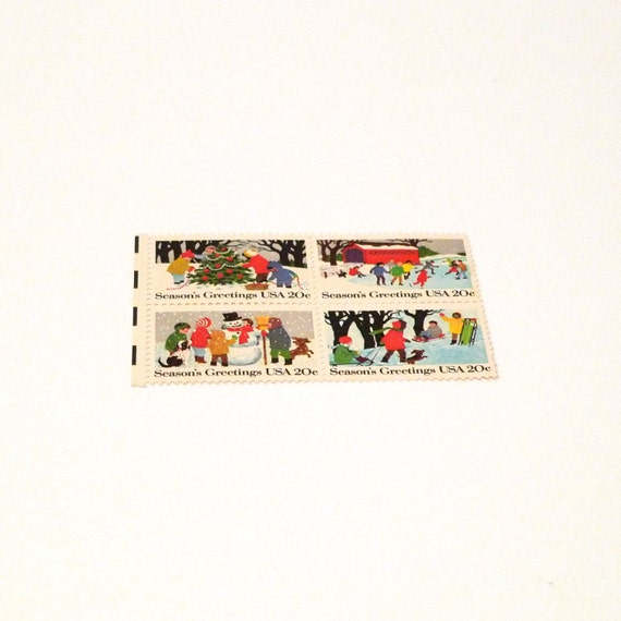 Vintage Seasons Greetings Christmas Stamp Snowman Postage Stamp 1982 ...