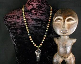 Meteorite Jewelry, Unakite Necklace, Tektite Pendant Necklace, Tribal Ethnic Jewelry, Shaman Necklace, Meteorite Necklace