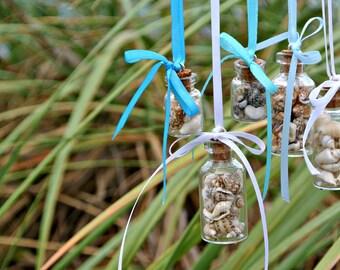 Small Seashell Ornament Vial Wedding Glass Decoration Jar Holiday Teeny Tiny Miniature Conch Snail Shells Florida Mermaid - TheSandbar