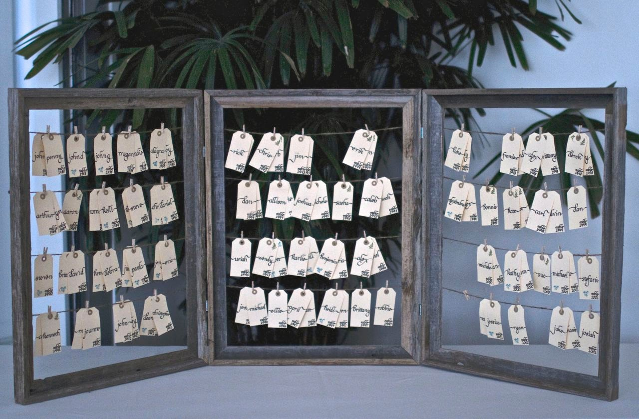 Rustic vintage wedding escort card holder table number names for How to display picture frames on a table