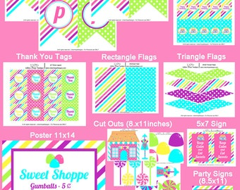 Sweet Shop Cand Party - Candyland Birthday - Sweet Shop Birthday - PRINTABLE Personalized Party Package - Sweet Shoppe