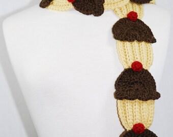 Chocolate Cupcake Scarf-Women Accessories-Neck Warmer-Crochet Scarf-Crochet