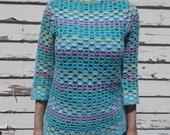 vintage crochet sweater open knit sweater - 50s/60s