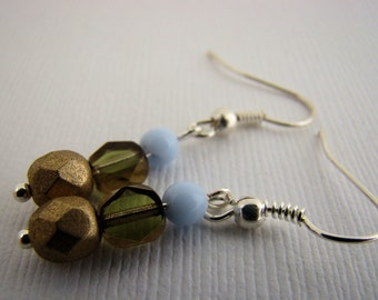 Earrings, Dangle, Glass Beads, Green, Gold, Light Blue, Casual, Tiny, For Her
