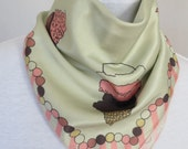 Cotton-Silk Scarf with Original Hand-drawn Print Cupcakes and Ice Cream