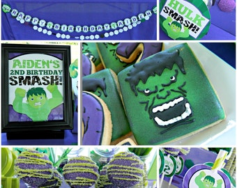 "Diy Incredible ""Green Monster"" Hulk Superhero Birthday Digital Printable Party Package"