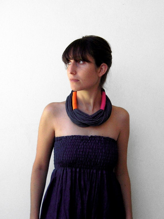 The tribal necklace - handmade with two colors or more of jersey fabric
