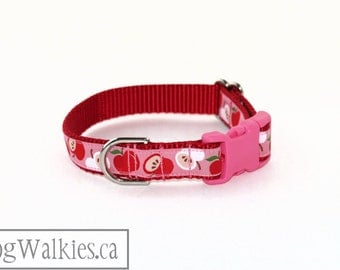 """Candy Apple Red - Pink and Red Dog Collar - 3/4"""" Wide (19mm) - Your choice of style and size - Martingale Dog Collars or Quick Side Release"""