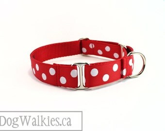 "White Spot Dog Collar - 1"" (25mm) Wide - Red Polka Dot Dog Collar - Martingale or Quick Release - Choice of collar style and size"