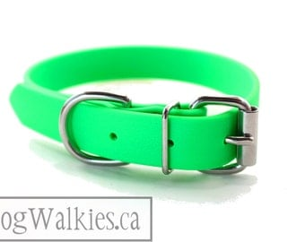 "Biothane Dog Collar - Neon Apple Green 1"" (25mm) - Leather Look and Feel - Adjustable Custom Size - Stainless or Brass Hardware"