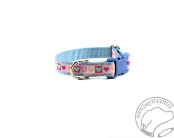 "SALE Blue Heart Valentine Dog Collar - 3/4"" (19mm) Wide - Choice of collar style and size - Martingale Dog Collars or Quick Release Buckle"