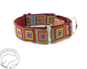 """Vibrant Retro Colorful Squares Dog Collar - 1"""" Wide (25mm) - Martingale or Quick Release - Choice of collar style and size"""